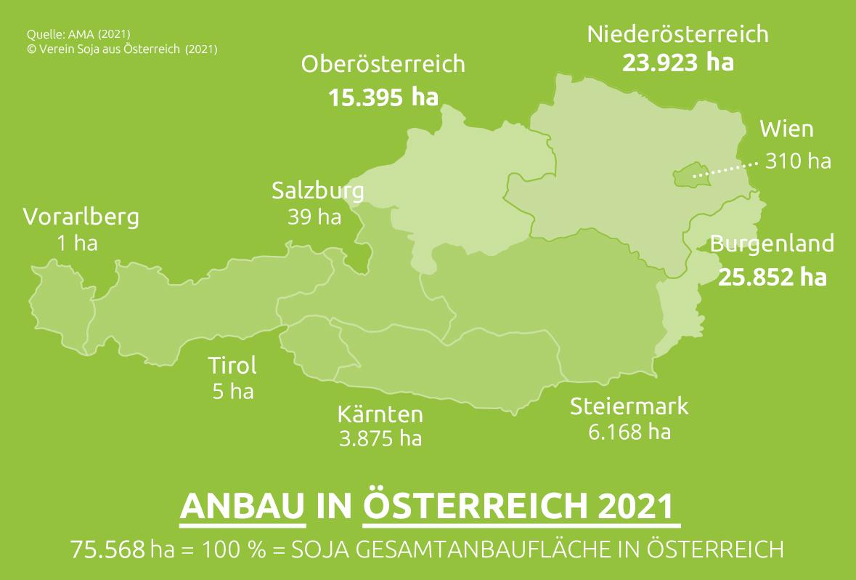 Soja-Flächen in Österreich 2021